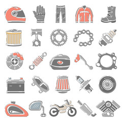Outline Color Icons - Motorcycle Parts And Equipment