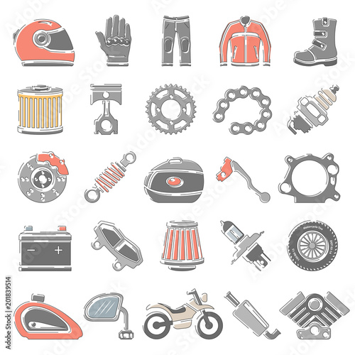 Outline Color Icons Motorcycle Parts And Equipment Stock Image