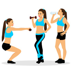 Girl with dumbbells. The girl is drinking water. Exercises.
