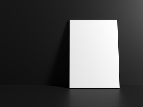 White canvas on a black floor. Mock-up. 3D rendering
