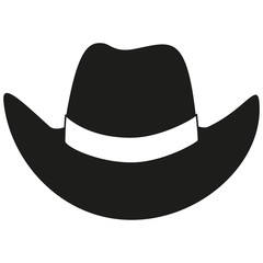 Black and white cowboy hat silhouette
