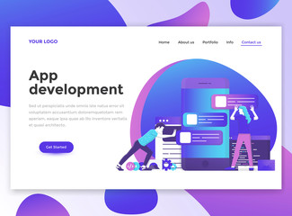 Flat Modern design of wesite template -App development