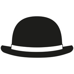 Black and white bowler hat silhouette