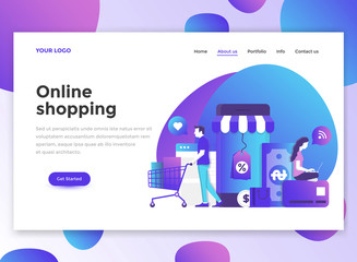 Flat Modern design of wesite template -Online Shopping