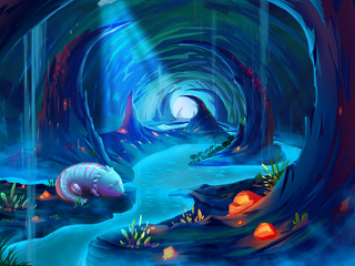 The Giant Salamander in the Cave with Fantastic, Realistic and Futuristic Style. Video Game's Digital CG Artwork, Concept Illustration, Realistic Cartoon Style Scene Design