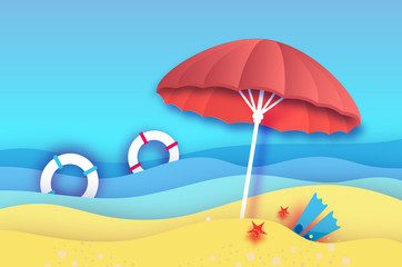 Beach umbrella -red parasol in paper cut style. Origami sea and beach with flippers,lifebuoy. Vacation at the beach and travel concept.