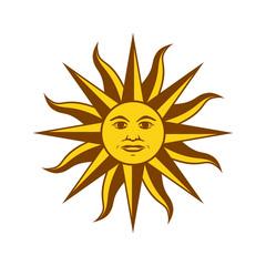Uruguay Sun Of May. Symbol of Uruguay. Vector illustration on white background.