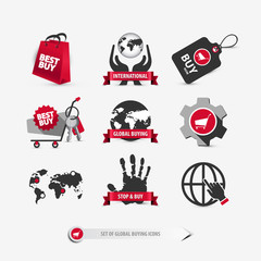 set of global buying icons containing: international shopping symbols, ideas about consumerism, mobile and web elements for website templates, flat, gradient, 3d style signs, eps10 vector illustration