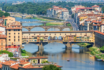 Wall Mural - Aerial view of Florence with the Ponte Vecchio and the Arno river, Tuscany, Italy