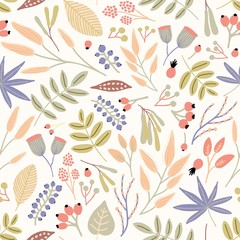 Motley seamless pattern with berries, leaves and inflorescences on white background. Decorative botanical backdrop. Beautiful vector illustration for textile print, wrapping paper, wallpaper.