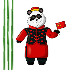 Vector Illustration of Panda in Chinese Traditional Costume
