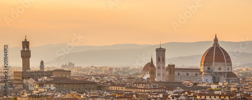 Wall mural Aerial view of Florence with the Basilica Santa Maria del Fiore (Duomo), Tuscany, Italy