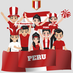 Set of Soccer / Football Supporter / Fans of Peru National Team