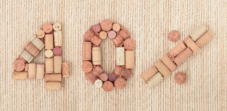 Number forty 40 %  percent made of wine corks on sea twine background. Sale Banner