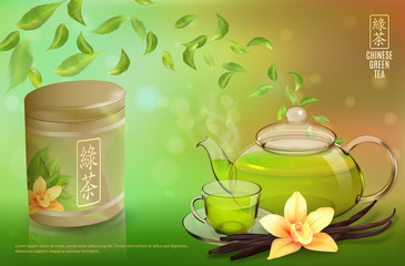Tea advertising flyer, poster or banner template. Green tea ad, with tea leaves, glass cup, teapot, package jar and vanilla. 3d illustration. Quality realistic vector