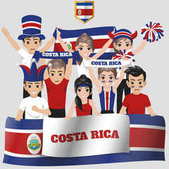 Set of Soccer / Football Supporter / Fans of Costa Rica National Team
