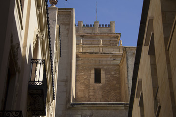 Old ancient houses roofs beige buildings murcia spain blue sky sunny sun day daylight contrast summer facade window