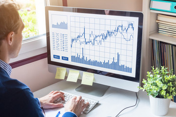 Home trader analyzing forex trading charts on computer screen investment