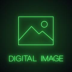 Digital image, photo neon light icon