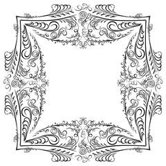 Decorative symmetry calligraphy pattern black