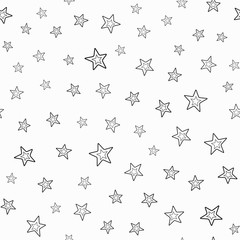 Repeated double contours of stars. Festive seamless pattern. Endless stylish print.
