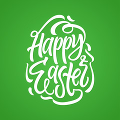 Happy Easter - vector hand drawn brush pen lettering illustration