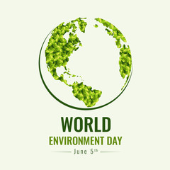 World Environment day banner with green abstract leaf texture on earth world sign vector design