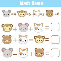 Math educational game for children. Counting equations. Mathematics worksheet with animals faces