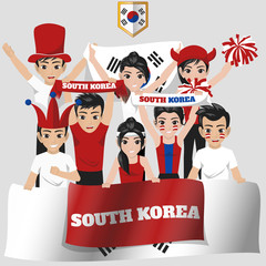 Set of Soccer / Football Supporter / Fans of South Korea National Team