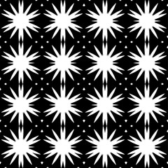 Seamless pattern with a abstract flowers in a black  -white colors