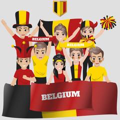 Set of Soccer / Football Supporter / Fans of Belgium National Team