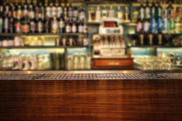 Interior Of Bar. Classic bar counter.