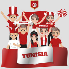 Set of Soccer / Football Supporter / Fans of Tunisia National Team