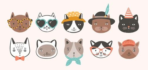 Collection of cute funny cat faces or heads wearing glasses, sunglasses and hats. Bundle of various cartoon animal muzzles isolated on light background. Colorful hand drawn vector illustration.
