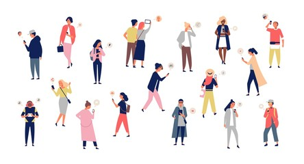 Wall Mural - Crowd of young men and women holding smartphones and texting, talking, listening to music, taking selfie. Group of male and female cartoon characters with mobile phones. Flat vector illustration.