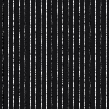 Brush or chalk drawn stripes, pinstripes, bars, streaks, lines, strips vector seamless repeat pattern, texture. Striped monochrome black and white background. Textured, rough, uneven edges.