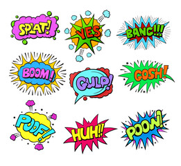 Set of Pop art style colorful comic exclamations