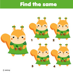 Find the same pictures children educational game. Animals theme activity for kids with cartoon squirrel