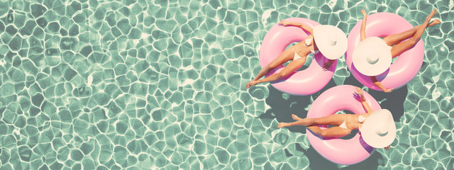 women swimming on float in a pool. retro style. 3d rendering