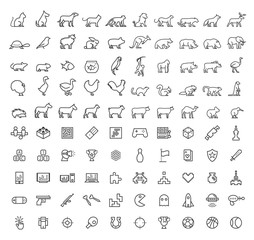 Set of 50 Minimal Animal and Games Black Icons on White Background . Isolated Vector Elements