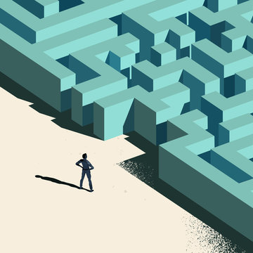 Business Challenge - Labyrinth Ahead. A person standing at the entrance to a maze. Conceptual vector illustration.