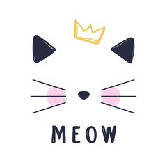 Hand drawn vector illustration of a funny cat girl face with crown and text Meow. Isolated objects on white background.