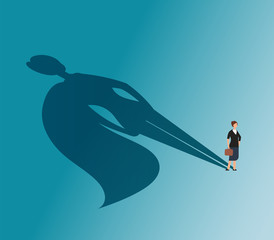 Executive woman with superhero shadow. Strong businesswoman and business victory vector concept