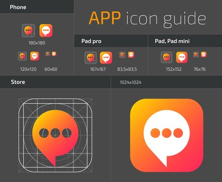 UI IOS button icons design guidelines for web and mobile app vector template
