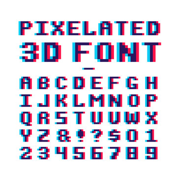 Video game pixelated 3d font. 8 bit pixel art old school latin alphabet with anaglyph distortion effect