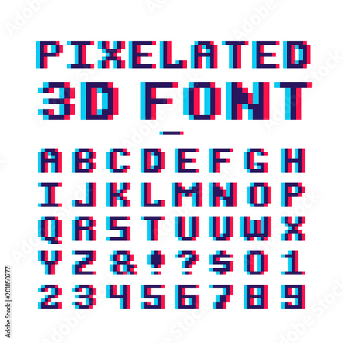 """Video Game Pixelated 3d Font. 8 Bit Pixel Art Old School"