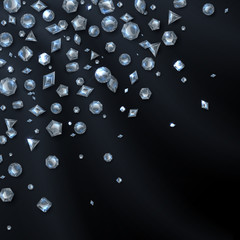 Shiny expensive diamond gems isolated on black backdrop. Jewelry and luxury vector background