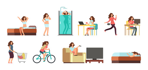 Smiling happy woman in everyday life. Active girl normal daily routine vector cartoon lifestyle characters set