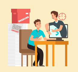 Frustrated man workaholic with laptop and angry boss. Overworked staff and deadline vector concept