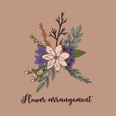 Beautiful flower arrangement for logo emblem